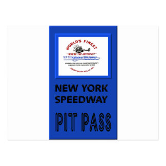 New york Speedway Pit Pass Postcard