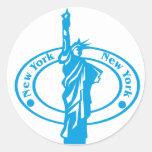 New York Stamp Round Sticker