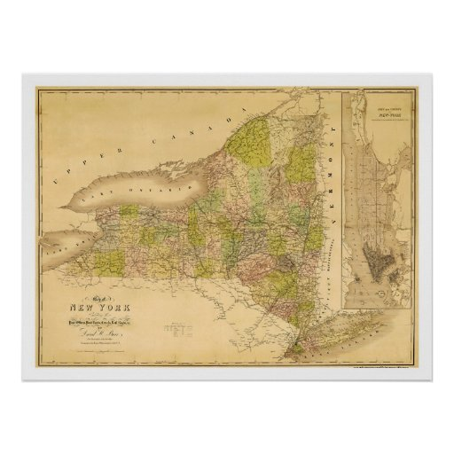 New York State Early Map 1839 Poster