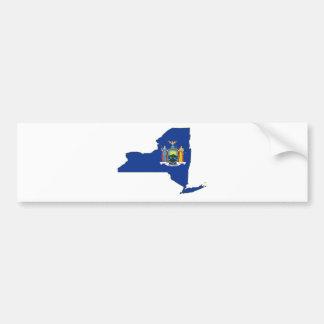 New York State Flag Map Car Bumper Sticker