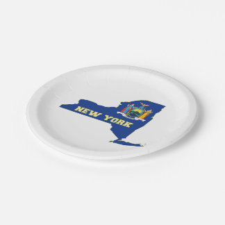 New York State Flag Map Paper Plate