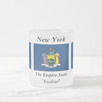 New York State Flag 10 Oz Frosted Glass Coffee Mug