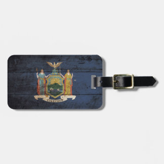 New York State Flag on Old Wood Grain Bag Tag