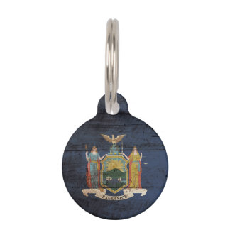 New York State Flag on Old Wood Grain Pet Name Tags