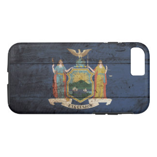 New York State Flag on Old Wood Grain iPhone 7 Case