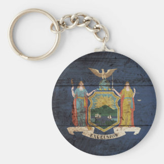 New York State Flag on Old Wood Grain Keychain