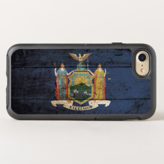 New York State Flag on Old Wood Grain OtterBox Symmetry iPhone 7 Case