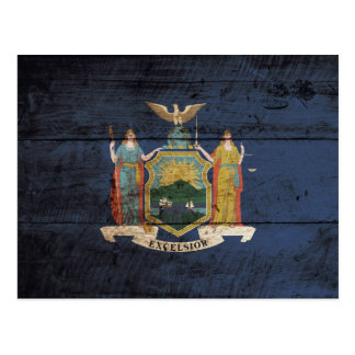 New York State Flag on Old Wood Grain Postcard