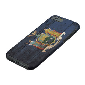 New York State Flag on Old Wood Grain Tough iPhone 6 Case