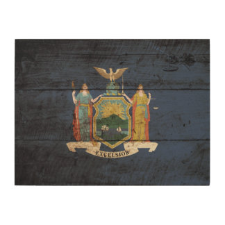 New York State Flag on Old Wood Grain Wood Wall Decor