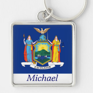 New York State Flag Personalized Keychain