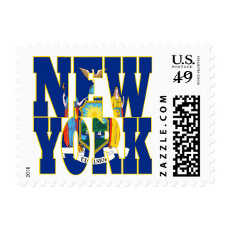 New York  state flag text Postage