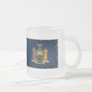 New York State Flag VINTAGE 10 Oz Frosted Glass Coffee Mug