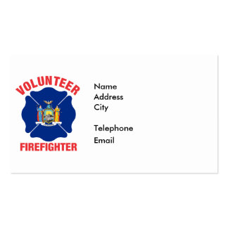 New York State Flag Volunteer Firefighter Cross Double-Sided Standard Business Cards (Pack Of 100)
