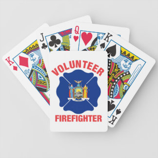 New York State Flag Volunteer Firefighter Cross Bicycle Playing Cards