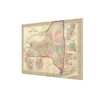 New York State Map by Mitchell Canvas Print