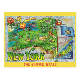 New York State Map Postcards Zazzle - Map of state of new york