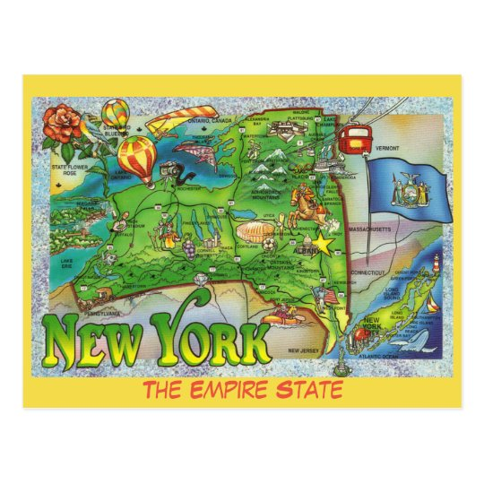 New York State Map Postcard Zazzle Com