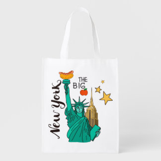 New York Statue of Liberty Apple and Hot Dog Grocery Bag