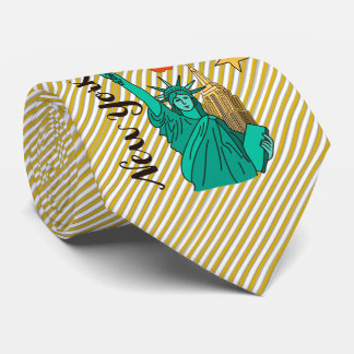 New York Statue of Liberty Apple and Hot Dog Tie