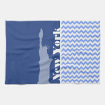 New York, Statue of Liberty; Blue Chevron Hand Towel