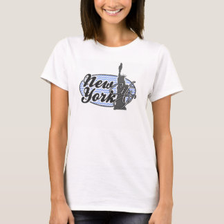 New York, Statue of Liberty; Blue Chevron T-Shirt