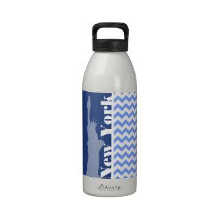 New York, Statue of Liberty; Blue Chevron Drinking Bottles
