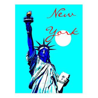 New York Statue of Liberty Blue Pop Art Postcard