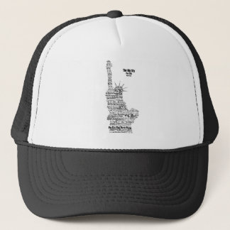 New York Statue Of Liberty Contoured in Words Trucker Hat