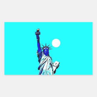 New York Statue of Liberty Pop Art Rectangle Stick Rectangular Sticker