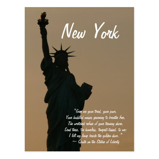 Statue Of Liberty Quote New Yorkstatue Of Liberty Quote Postcard  Zazzle