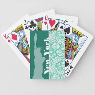 New York, Statue of Liberty, Seafoam Green Damask Bicycle Playing Cards