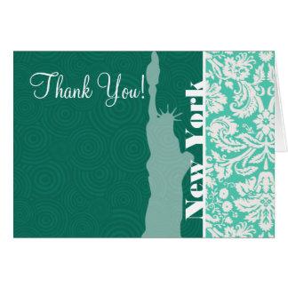 New York, Statue of Liberty, Seafoam Green Damask Card