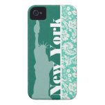 New York, Statue of Liberty, Seafoam Green Damask iPhone 4 Case-Mate Case