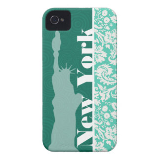 New York, Statue of Liberty, Seafoam Green Damask iPhone 4 Case