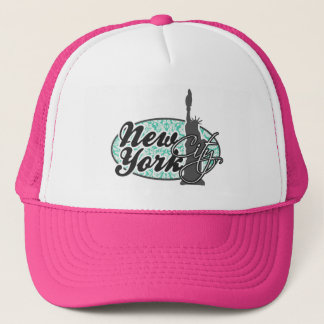 New York, Statue of Liberty, Seafoam Green Damask Trucker Hat