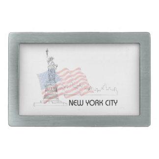 New York - Statue of Liberty USA Flag Belt Buckle