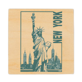 New York-Statue of Liberty Wooden Coaster