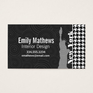 New York, Statue of Libety Houndstooth Business Card