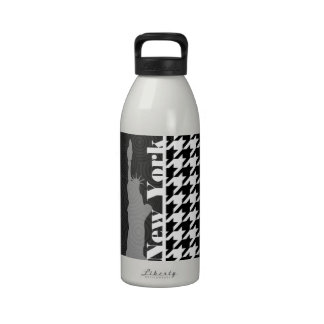 New York, Statue of Libety Houndstooth Water Bottles
