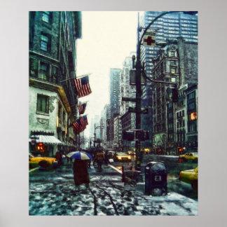 New York Street in Winter by Shawna Mac Poster