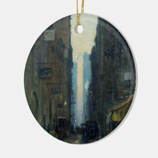 New York Street Scene - Ernest Lawson Double-Sided Ceramic Round Christmas Ornament