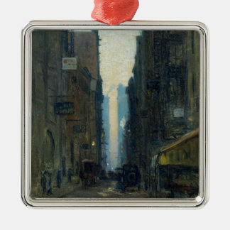 New York Street Scene - Ernest Lawson Square Metal Christmas Ornament