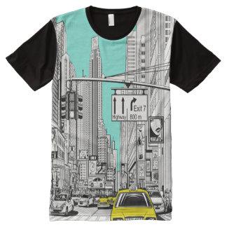 New York street taxi cab scene tshirt