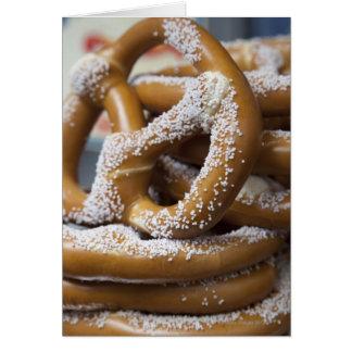 New York street vendor's huge pretzels for sale Card