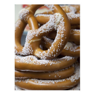 New York street vendor's huge pretzels for sale Postcard