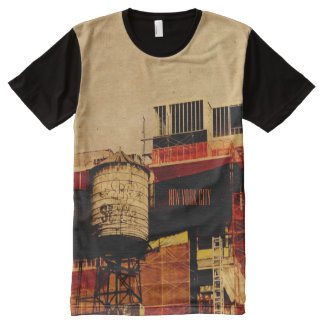 New York street water tower All-Over Print T-shirt