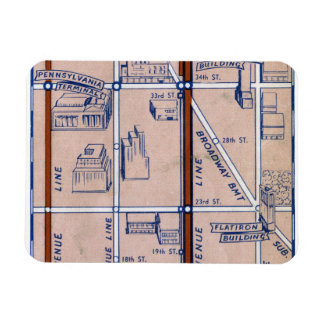 NEW YORK SUBWAY MAP, 1940 2 RECTANGULAR PHOTO MAGNET