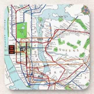 New York: Subway Map, 1940 Beverage Coaster