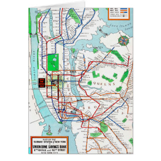 New York: Subway Map, 1940 Stationery Note Card